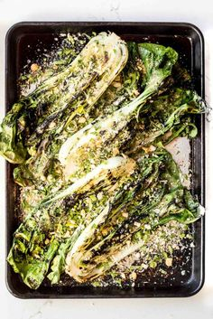 grilled bok choy with breadcrumbs and parmesan and lemon