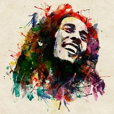 One of a kind colorful illustration of the most talented reggae music artist, Bob Marley, made in watercolor effects. I used vivid color splashes.