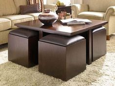 Furniture Alluring Coffee Tables With Storage Ottomans Underneath The Table Style Provide Storage Cubics Square Coctail Table Design Flaxen Fabric Sectional Sofa Ivoru Shag Wool Rug Four Upholstered Ottomans Coffee Table with Ottomans Underneath