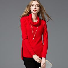 Autumn Winter Women Sweaters Pullovers Turn-down Collar loose long sleeve Knitted Sweater female wool Bottoming knit top 7619748 Fashion 2017, Street Fashion, Trendy Fashion, Fashion Trends, Beautiful Gifts, Beautiful Outfits, Skirt Fashion, Fashion Outfits, Fashion Capsule