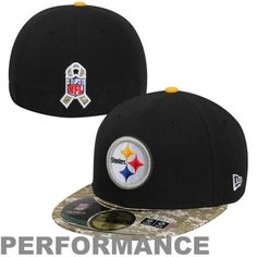 New Era Pittsburgh Steelers Salute To Service On-Field 59FIFTY Fitted Performance Hat - Black/Digital Camo #SalutetoService