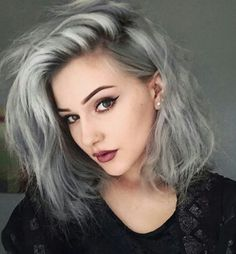 grey blue long bob cute messy grunge makeup