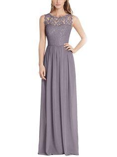 Tideclothes Long Chiffon Bridesmaid Dress Lace See-through Prom Dress Burgundy US8