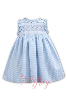 Sewing Projects Blue Stripe Smocked Dress - Beautiful Sarah Louise dress smocked with tab in the back. Toddler Dress, Baby Dress, Little Girl Outfits, Kids Outfits, Smocking Patterns, Smocking Plates, Smocks, Heirloom Sewing, Smock Dress