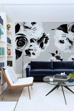 Black and White Floral Mural Wallpaper - Adhesive Wallpaper - Removable Wallpaper - Wall Sticker - Colorful Pattern - Customizable Wallpaper