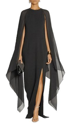 Maketina Women's Flare Chiffon Sleeve High Split Formal Evening Gown Maxi Dress with Cape Black XXL Mode Chanel, Cape Dress, Gown Dress, Chiffon Dress, Mode Outfits, Casual Outfits, Blue Fashion, Fashion 2018, Beautiful Dresses