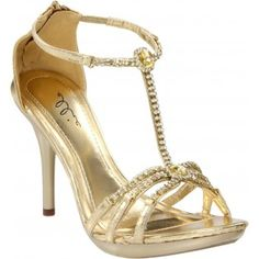 431-DARLING Rhinestones High Heels - Gold