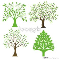 4 hand-painted tree illustration vector map