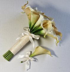 Wedding Bouquet Ivory and Champagne Calla Lilly Bouquet Bridal Accessories Bouquets Hand Dyed Calla Lilly Bouquet Weddings