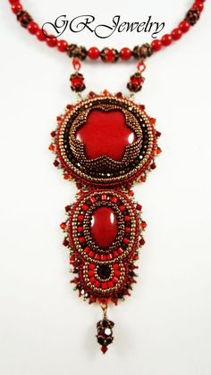 For those who likes red this necklace will be a great gift. Very stylish and brave neckpiece with mountain jade stones, Swarovski crystals, copper metal beads. Size of the necklace is 16 - 18 inches, length of the pendant is 6 inches.