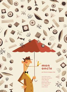 Silver Screen Society - Mon Oncle  by Andrew Kolb #Illustration #Andrew_Kolb