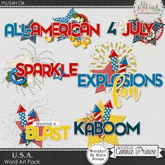 U.S.A. - Word Art Pack by Kim using U.S.A. collection by Connie Prince. Includes 6 clustered word art elements, saved in PNG format. Scrap for hire / others ok.
