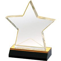 "5 x 5 3/4"" Designer Acrylic Star Award Trophy Engraving, Award Plaques"