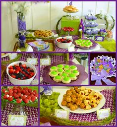 Tinker Bell party food/ Woodland bites, Tink's Links, Toad Stools, Fairy Berries, Pixie Pops, Fairy Wands, Dew Drops