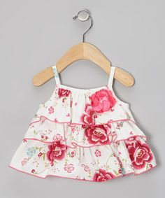 Take a look at this White Spring Blossom Ruffle Top - Toddler & Girls by Baby Nay on #zulily today!