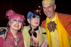 A Tribute to Anna Piaggi's Inimitable Style: Talk about fashion legends. From L-R,  Zandra Rhodes, Anna Piaggi and Andrew Logan in 2003 at Sophie Kokosalaki's show at London Fashion Week. (Photo by Bardo Fabiani/WireImage)