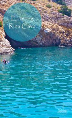 Entering Rina Cave to admire the stalactites.  www.NaxosSailing.com #naxossailing #naxosisland #greece #naxos #naxosactivities #sailing #sailinggreece