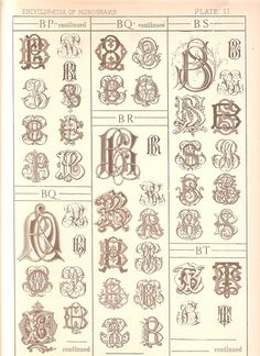 1884 Antique B Monograms Page - Letter Style Ephemera - Plate 11