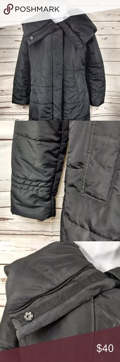 """Calvin Klein Black Puffer Coat Sz XS What a deal!! This coat is in excellent used condition.  No rips or tears.  Size is XS.  Item dimensions, compare to a favorite item in your own closet to ensure proper fit!  Shoulder to shoulder:16""""  Armpit to armpit: 20""""  Shoulder to hem: 32""""  Arm length: 23.5""""  I ship fast. Please ask questions before purchasing. IN359 Calvin Klein Jackets & Coats Puffers"""