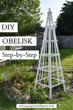Such an easy and simple DIY to build a gorgeous Wooden Obelisk. There are step-by-step instructions and the wood is easy to purchase from your local hardware store Easy Garden, Diy Garden Decor, Garden Art, Garden Beds, Bird Bath Garden, Garden Cottage, Wooden Garden, Wooden Diy, Diy Trellis
