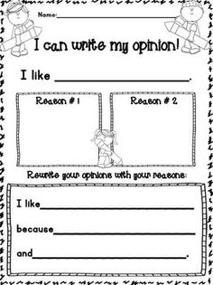 Opinion Organizer FREEBIES! FREEBIESSSSSSSSS! - 1st Grade is WienerFUL - TeachersPayTeachers.com