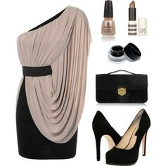 Beige and black glam