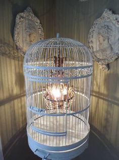 Shop for chandelier on Etsy, the place to express your creativity through the buying and selling of handmade and vintage goods. Birdcage Chandelier, Birdcages, Vintage Furniture, Chandeliers, Repurposed, Sconces, Kitchens, Shabby Chic, Ceiling Lights