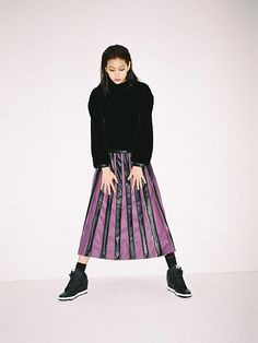 Color block pleats long skirt