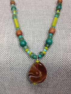 Long Beaded Necklace with pendant on Etsy, $20.00