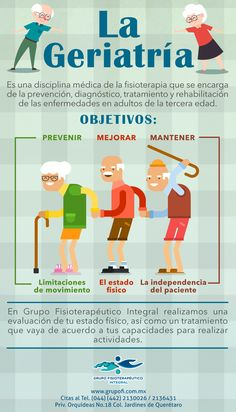 La geriatría es la especialidad médica que se encarga de la prevención, el diagnóstico, el tratamiento y la rehabilitación de las enfermedades en adultos de la tercera edad. #Infografía #GrupoFI