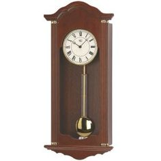 Walnut Chiming Wall Clock with Brass Accents