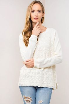 Battenberg Lace Mixed French Terry Sweater