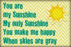 You Are My Sunshine Printable 4x6