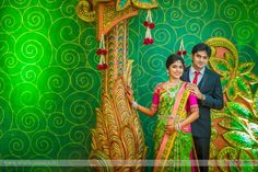 Here we have a bride who began her new year on a truly divine note, meeting her to-be husband in a temple. What began then paved the way for a future that they plan on making together. Wedding Banner Design, Flex Banner Design, Indian Wedding Album Design, Wedding Stage Design, Wedding Stage Decorations, Wedding Decor, Wedding Album Cover, Wedding Album Layout, Wedding Titles