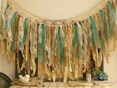 Vtg. Boho Macrame Wall Hanging Burlap Lace Valance Fabric Garland Teal Turquoise