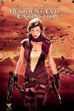 Resident Evil 3: Extinction (2007). Milla Jovovich (Alice), Ali Larter (Claire), Oded Fehr (Carlos). Survivors of the Raccoon City catastrophe travel across the Nevada desert, hoping to make it to Alaska. Alice joins the caravan and their fight against the evil Umbrella Corp. Zombies | Action | Sci-fi | Horror.