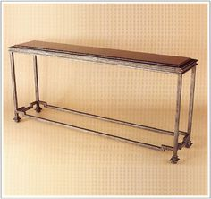 """10024  IRON TABLE SHOWN WITH CUSTOM INSERT GRANITE TOP FINISH SHOWN: PEWTER BASE DIMENSIONS SHOWN W 13"""" L 60"""" HT 31"""""""