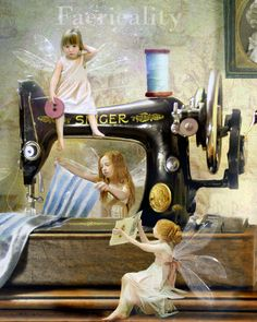 My Great Grandmother had a sewing machine just like this. I don't know about the fairies-lol!