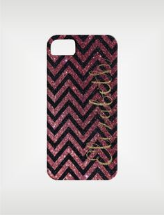 Personalized iPhone 5 Case 4 / 4S or 3G or Samsung - Chevron Glitter Monogram - original design by a drop of golden sun.