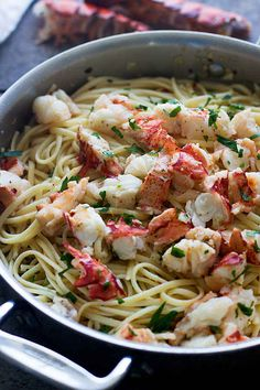 Lobster Scampi with Linguine Easy Lobster Scampi with Linguini - 30 minutes to garlicky lobster heaven!Easy Lobster Scampi with Linguini - 30 minutes to garlicky lobster heaven! Fish Recipes, Seafood Recipes, Pasta Recipes, Dinner Recipes, Cooking Recipes, Healthy Recipes, Easy Lobster Recipes, Cooking Games, Holiday Recipes