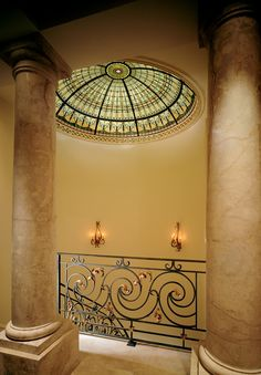 Another Impulse for my Coffeehouse Interiors / Stained Glass Ceiling Dome at the top of the spiral stairway up to the master suite. Private residence, Ft. Lauderdale, FL    By Art Glass Environments, FL