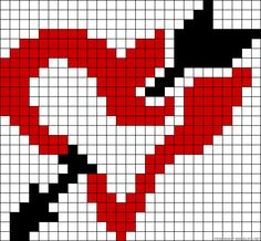 Graph Paper Drawings, Graph Paper Art, Pony Bead Patterns, Beading Patterns, C2c Crochet Blanket, Beaded Banners, Cross Stitch Boards, Valentines Design, Alpha Patterns