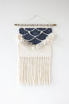 Navy Fringe Scallops Weaving Woven Wall Hanging by hellohydrangea