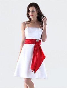 A-line Spaghetti Straps Knee-length Satin Bridesmaid/Wedding... – USD $ 59.39