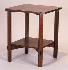 Gustav Stickley clip-corner lamp table.  Signed.   29″h x 24″sq
