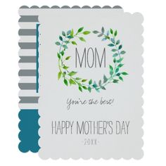 #floral - #Watercolor Green Leaf Wreath   Mother's Day Card