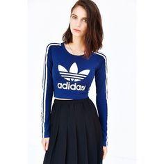 adidas Paris Cropped Tee ($35) ❤ liked on Polyvore featuring tops, t-shirts, striped long sleeve t shirt, striped long sleeve tee, striped t shirt, stripe tee and striped tee