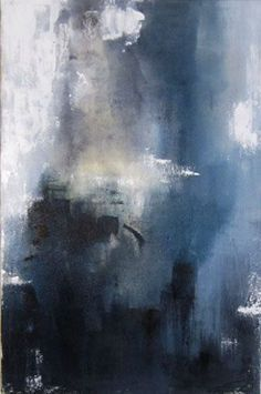 Contemporary Abstract Painting, blue, yellow, white, gray: