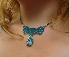 Teal tatted lace necklace with pearly teardrop bead.OOAK necklace