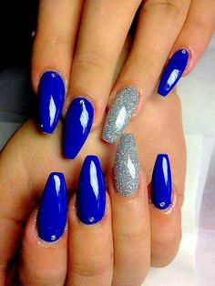Short coffin nails with out the studs and sliver accent nail. All nails have to be blue - Short coffin nails with out the studs and sliver accent nail. All nails have to be blue - Sliver Nails, Blue And Silver Nails, Blue Glitter Nails, Blue Coffin Nails, Cobalt Blue Nails, Blue Gel Nails, Bright Blue Nails, Acrylic Nails Coffin Glitter, Shellac Nails